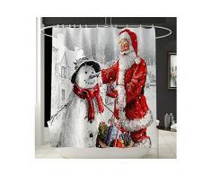 FeiliandaJJ Weihnachten Deko Duschvorhang 180x180cm, Badevorhänge Anti-Schimmel Anti-Bakteriell Wasserdicht Stoff Badewanne Vorhang Shower Curtain mit 12 Duschvorhangringen für Badezimmer (Mehrfarbig)