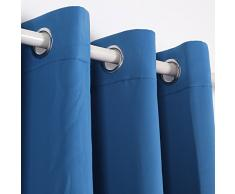 Deconovo Verdunkelungsgardinen mit Ösen Vorhang Blickdicht Ösenvorhang Blickdicht 245x140 cm Blau 2er set