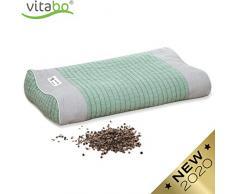 Vitabo Buchweizenkissen zum Schlafen und Liegen   Kopfkissen mit Stützfunktion für Nacken und Wirbelsäule   Schlafkissen mit ergonomischer Wellenform (Grün/Grau)