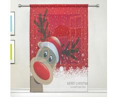 Sheer Voile Fenster Vorhang Panel Happy New Year Weihnachten Hirsch mit Red Santa Hat Schneeflocken Muster Polyester Material Stoff für Schlafzimmer Home Decor Küche Wohnzimmer 139,7 x 198,1 cm, 55 x 78 inch