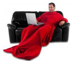 CelinaTex TV-Decke Kuscheldecke mit Ärmel und Fuß Tasche, Mikrofaser Decke Coral Fleece, Tagesdecke XL rot, 170 x 200 0003211