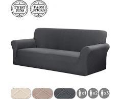 Fuloon Stretch Sofabezug, Spandex Sofa Überwürfe Couchbezug Elastische Sofahusse Antirutsch Sofa Abdeckung 180-230cm (3 Sitzer, Grau)