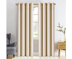 FAIRYLAND Vorhang 245x140- Blickdicht Gardinen mit Ösen - Verdunkelungsvorhang für Kinderzimmer 8 Löcher pro Stück,1 Paar(2 Stück) Creme