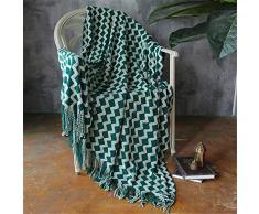 MMHJS Bequeme Strickdecke Imitierte Kaschmirdecke Büro Klimatisiert Mittagspause Decke Mit Fransen Schal Decke