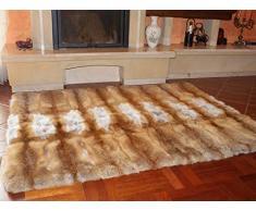 FOX FASHION Pelz Decke Teppich aus echtem Rotfuchs Fell Tagesdecke Felldecke Echtfell Echpelz Rotfuchsfell Fuchs Rot Fuchsfell (130x200 cm)