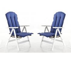 Ambientehome Auflage für Hochlehner, Stuhlkissen Stranda, 2-er Set, blau