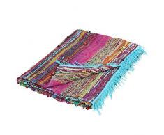 Flickenteppich hangewebt Fleckerlteppich Läufer 90x150cm Chindi Look | 6 Farben (türkis)