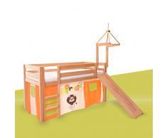 Vorhänge Stoff-Set für Spielbett, Motiv: Afrika, Dschungel, Tiere, Tierpark Tiergarten, Zoo, Vorhang Safari 3-teilig 100% Baumwolle Stoffvorhang Bettvorhang inkl Klettband für Hochbett Spielbett