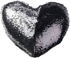 Wilson Gabor Verwandlungs-Kissen: 2er-Set Deko-Pailletten-Kissen in Herzform, Velours, schwarz/silbern (Sofa- und Dekokissen)