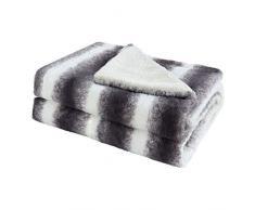DealMux Kunstpelz Decke, Reversible weiche Flauschige Lange zottige Mikrofaser Decke, Plüsch dekorative Pelzdecke für Bett oder Couch, grau und weiß, 50x 60