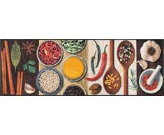 Sehr hochwertiger Küchenläufer Größe ca. 60 x 180 cm - Hot Spices - Gewürze - Küchenmatte - Dekoläufer für Küche und Bar / Teppich Läufer Küche / waschbare Küchenläufer / Küchendeko Modell ,,COOKING & WASH Größe