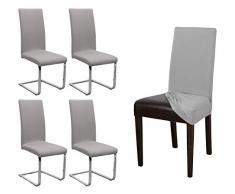 BEAUTEX 4er Set Jersey Stuhlhusse, elastische Stretch Husse Baumwolle Bi-Elastic, Farbe wählbar (Mittelgrau-Stein)