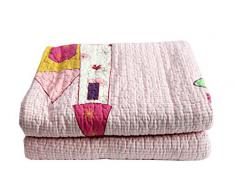 1001 Wohntraum 13D57 Quilt Lara 180 x 220 cm Prinzessin Plaid Tagesdecke, Patchwork rosa Vintage Decke
