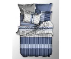 DecoKing 04678 Bettwäsche 200x200 cm mit 2 Kissenbezügen 80x80 Bettwäscheset Bettbezüge Microfaser Bettwäschegarnituren Reißverschluss Basic Collection Toney hellblau dunkelblau weiß grau