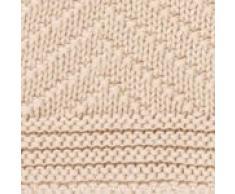 """URBANARA Baumwolldecke """"Falesia"""" aus 100% reiner Baumwolle, Beige, Zickzackmuster gestrickt – 140 x 170 cm Überwurf/ Sofadecke/ Kuscheldecke"""