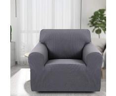 ChicSoleil Sofa Überwürfe Jacquard Sofabezug Elastische Stretch Spandex Sofaüberzug Couchbezug Sofahusse Sofa Abdeckung für 1/2/3 Sitzer (1 Sitzer, Grau)