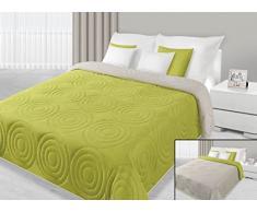 DecoKing 29893 Tagesdecke 220 x 240 cm hellgrün grün limette pistaziengrün seladon beige Tagesdecke Bettüberwurf zweiseitig pflegeleicht lime green celadon cappuccino Anthony