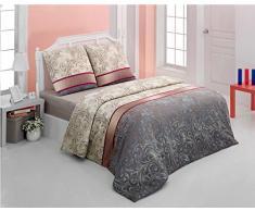 Bettwäsche 200x200 Baumwolle Bettgarnitur mit Reißverschluss 3 teilig L-A7607