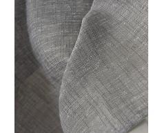 WOLTU® VH5861dgr, Gardinen transparent mit Ösen Leinen Optik, Ösenschal Vorhang Stores Voile lichtdurchlässig Fensterschal Dekoschal für Wohnzimmer Schlafzimmer, 140x245 cm, Grau, (1 Stück)