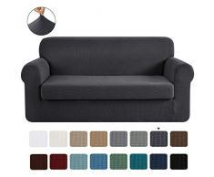CHUN YI 2-Stück Jacquard Sofaüberwurf, Sofaüberzug, Sofahusse, Sofabezug für Sofa, Couch, Sessel, mehrere Farben (3-Sitzer, Grau)