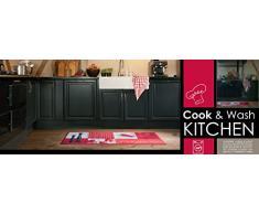Küchenläufer / Küchenmatte / Läufer / Dekoläufer für Küche und Bar / Hot Chili / Pfeffer / Paprika / Rot / Der Hingucker in Ihrer Küche / Ihre Gäste werden staunen / waschbare Küchenläufer / Küchendeko Modell ,,COOK