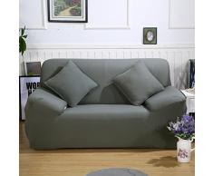 ele ELEOPTION Sofa Überwürfe Sofabezug Stretch elastische Sofahusse Sofa Abdeckung in Verschiedene Größe und Farbe Herstellergröße 145-185cm (Grau, 2 Sitzer für Sofalänge 130-170cm)
