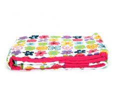 1001 Wohntraum HY117 Quilt T3 230 x 250 cm Blumen bunt Plaid Tagesdecke, Patchwork rosa