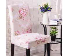 Inroy Stretch-Stuhlbezug, Elastic Stuhlhusse,Hirtenstil mit Blumen gedruckt (4-Stück, J)