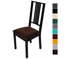 Homaxy Stuhlbezug Sitzfläche Samt Weich Sitzbezug Stuhl Stretch-sitzbezüge für Esszimmerstühle Abwaschbar Schonbezug Hussen für Stühle- 4er Set, Braun