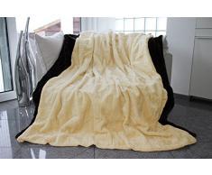 Auro Hochwertige Kuscheldecke-Felldecke für Wohn- und Schlafräume, 200x150 cm, Sand