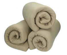 Betz 3 Stück Fleecedecke Kuscheldecke Wohndecke in Größe 130x170 cm Qualität 220 g/m Farbe Sand