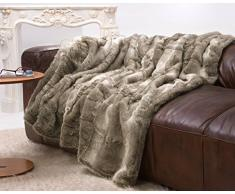 Sehr große Felldecke, Pelzplaid, Webpelzdecke Bär grau und beige Melange 220x240