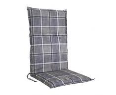 greemotion Sesselauflage Marbella hoch, Sitzauflage mit Schaum-/Fließfüllung, Rückenkissen mit Zugbändern, Sitzkissen mit edlem Stehsaum und Karomuster