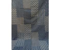 Indigo Farbe Hand Block gedruckt Kantha Steppdecke, Twin Size Patchwork Baumwolle Tagesdecke, hergestellt von Tribal asiatischen Textilien