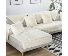 FDJKGFHGFCGDFGDG Volle Deckung schonbezug Sofa,Winter Anti-rutsch plüsch sofabezug Rückenlehne zu Decken Moderne schlichtheit Couch abdeckungen Sofabezug für Wohnzimmer -Weiß 70x120cm(28x47inch)