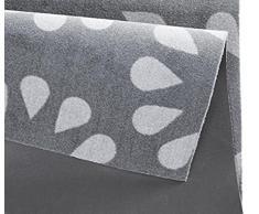Küchenläufer / Küchenmatte / Dekoläufer für Küche und Bar / Teppich / Läüfer / Läufer / waschbare Küchenläufer / Küchendeko Modell ,,COOK & WASH - grau Blumenmuster - Größe ca. 50 x 150 cm / Maschinen waschbar auf 30 grad