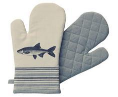Küchen-und Ofenhandschuh mit Fischmotiv aus 100 % Baumwolle