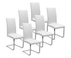 BEAUTEX Jersey Stuhlhussen Sets, elastische Stretch Husse Baumwolle Bi-Elastic, Farbe wählbar (Weiß 6er Set)