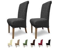 SCHEFFLER-Home Stretch Stuhlhusse Julia, 2er Set elastische Stuhlabdeckungen, Stuhlhussen Schwingstühle, Spannbezug mit Gummiband und Schnürband, Elegante Stuhlbezüge