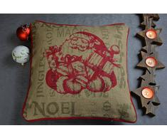 Kissenhülle ohne Füllung Kissenbezug Jute Christmas Weihnachten Winterzeit Weihnachtsmann Nikolaus 40 x 40 cm Beige/Rot