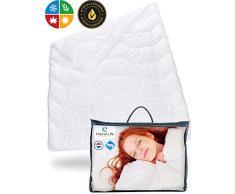 Bettdecke 155 x 220 BLANCO | Flauschige Schlaf-Decke mit Feuchtigkeitsmanagement & hoher Atmungsaktivität | Optimale Hygiene für Allergiker | Perfekte 4-Jahreszeiten Decke | Ganzjahresdecke 155x220