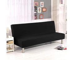 Cornasee Sofabezug 3 sitzer ohne armlehne - Clic Clac Sofahusse Stretch Bettcouch Schonbezug Einfarbig,Schwarz