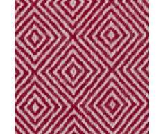 URBANARA Kaschmirdecke/Überwurf Uyuni - 100% reiner Kaschmir, Wohndecke mit Rautenmuster und offenen Fransen – 140 x 200 cm (Weinrot/Creme)