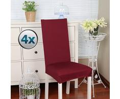 Stuhlhussen 4 Stück, Stretch-Stuhlbezug elastische moderne Husse Elasthan Stretchhusse Stuhlbezug Stuhlüberzug . bi-elastic Spannbezug, sehr pflegeleicht und langlebig Universal (Packung von 4,Rot)