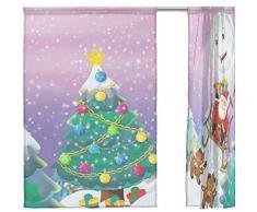 FFY Go Voile-Vorhang Weihnachten mit Weihnachtsmann gemustert, durchscheinendes Fenster, weiches Material, extra lang für Schlafzimmer, Wohnzimmer, Küche, Dekoration, Haustür, 2 Paneele, 198 x 139,7 cm
