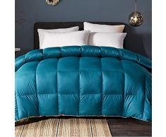 Love House Ganzjahres-Alternative Daunenbettdecke Baumwolle Feder Schmusetuch mit Ecklaschen gesteppt leichte Gänsedaunen Bettdeckeneinlage, Baumwolle, grün, Queen