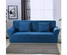 Icegrey Jacquard Sofaüberwurf Elastischer Sofaüberzug Spandex Sofabezug Stretch Sofahusse Tiefes Blau Viersitz 235-300cm