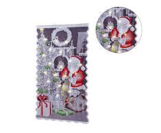 luckything Weihnachts Vorhänge, Spitze Vorhänge Scheibengardine Weihnachten Deko Weihnachtsvorhang Tüll Fenster Behandlung 213102cm Weihnachtsmann Christmas Gardine