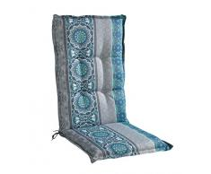 Sesselauflage Sitzpolster Gartenstuhlauflage für Hochlehner   50 cm x 120 cm   Petrol   Mandalamotiv   Baumwolle   Polyester