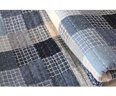 Quilt Janina 180x200cm Karo blau grau Vintage Tagesdecke Shabby Chic Patchworkdesign Decke